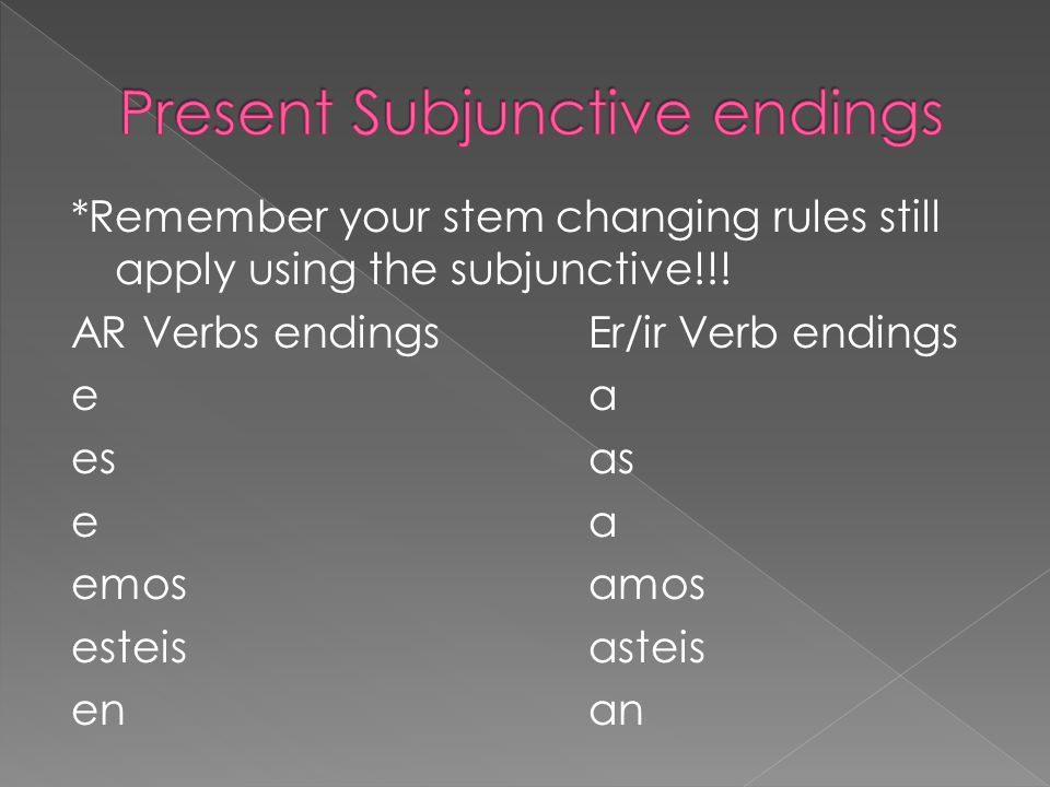 *Remember your stem changing rules still apply using the subjunctive!!.