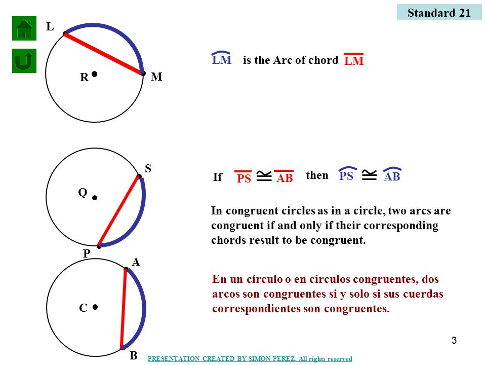 3 M L is the Arc of chord If then In congruent circles as in a circle, two arcs are congruent if and only if their corresponding chords result to be congruent.