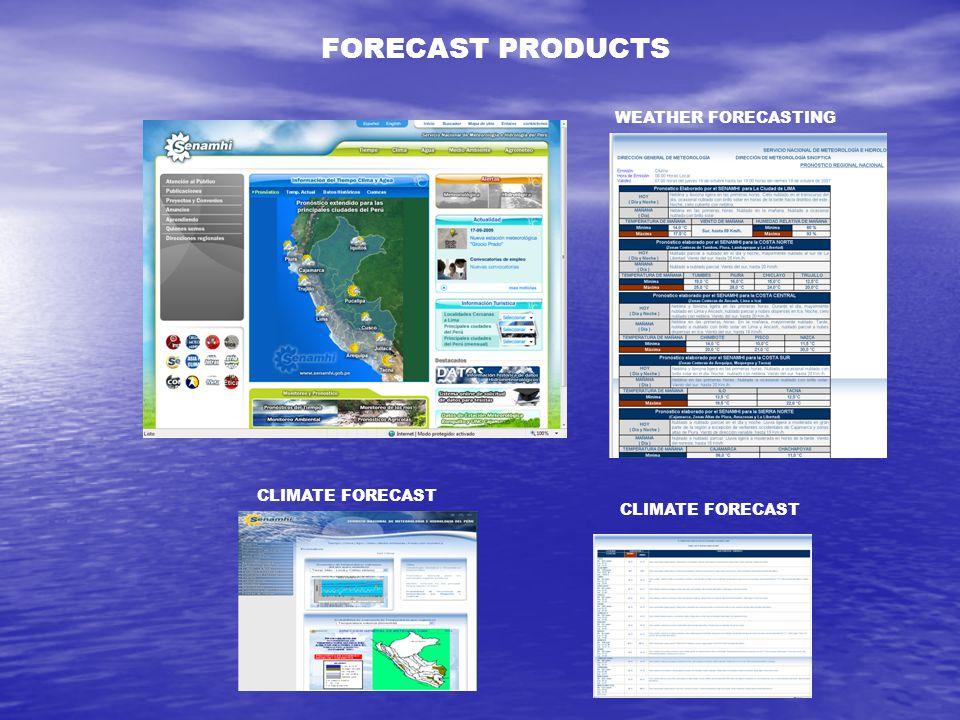 WEATHER FORECASTING CLIMATE FORECAST FORECAST PRODUCTS CLIMATE FORECAST