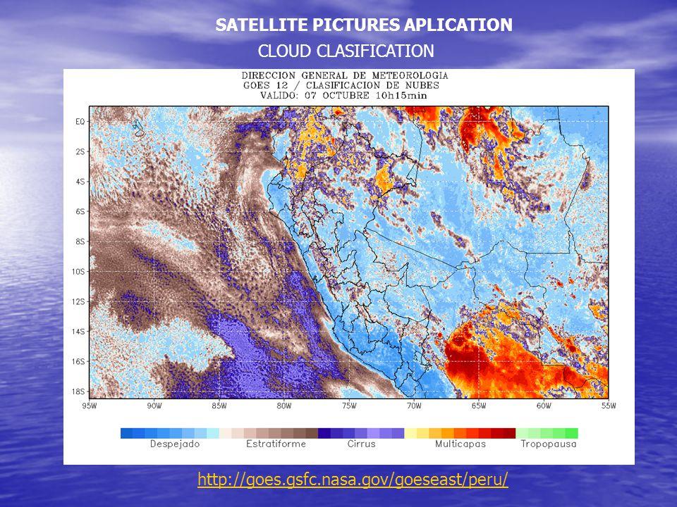 CLOUD CLASIFICATION SATELLITE PICTURES APLICATION http://goes.gsfc.nasa.gov/goeseast/peru/