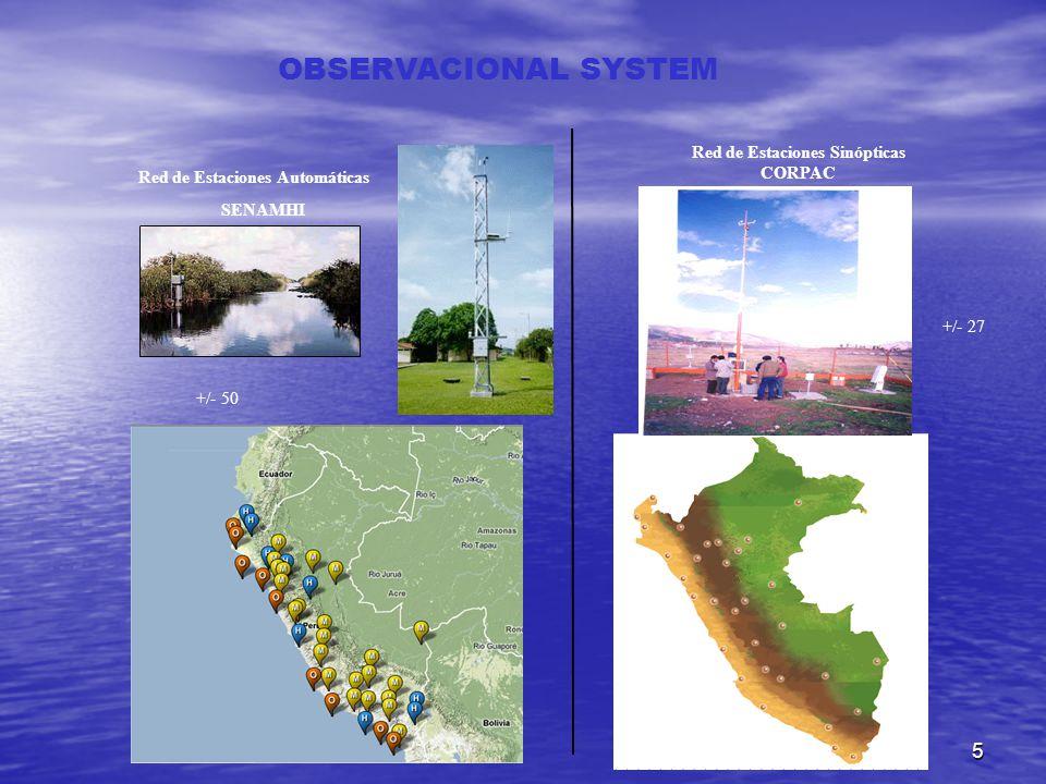 5 OBSERVACIONAL SYSTEM Red de Estaciones Automáticas SENAMHI Red de Estaciones Sinópticas CORPAC +/- 50 +/- 27