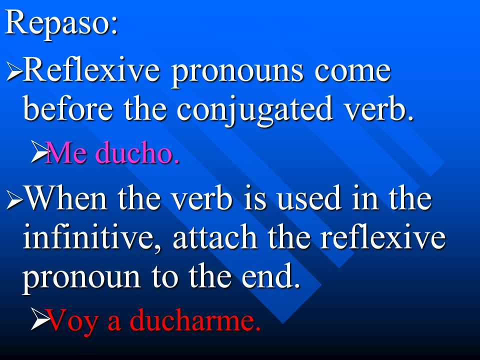Repaso:  Reflexive pronouns come before the conjugated verb.  Me ducho.  When the verb is used in the infinitive, attach the reflexive pronoun to t