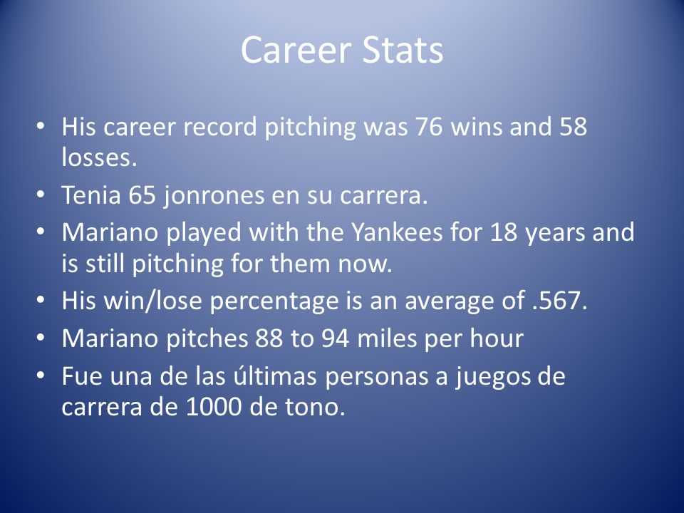 Career Stats His career record pitching was 76 wins and 58 losses.
