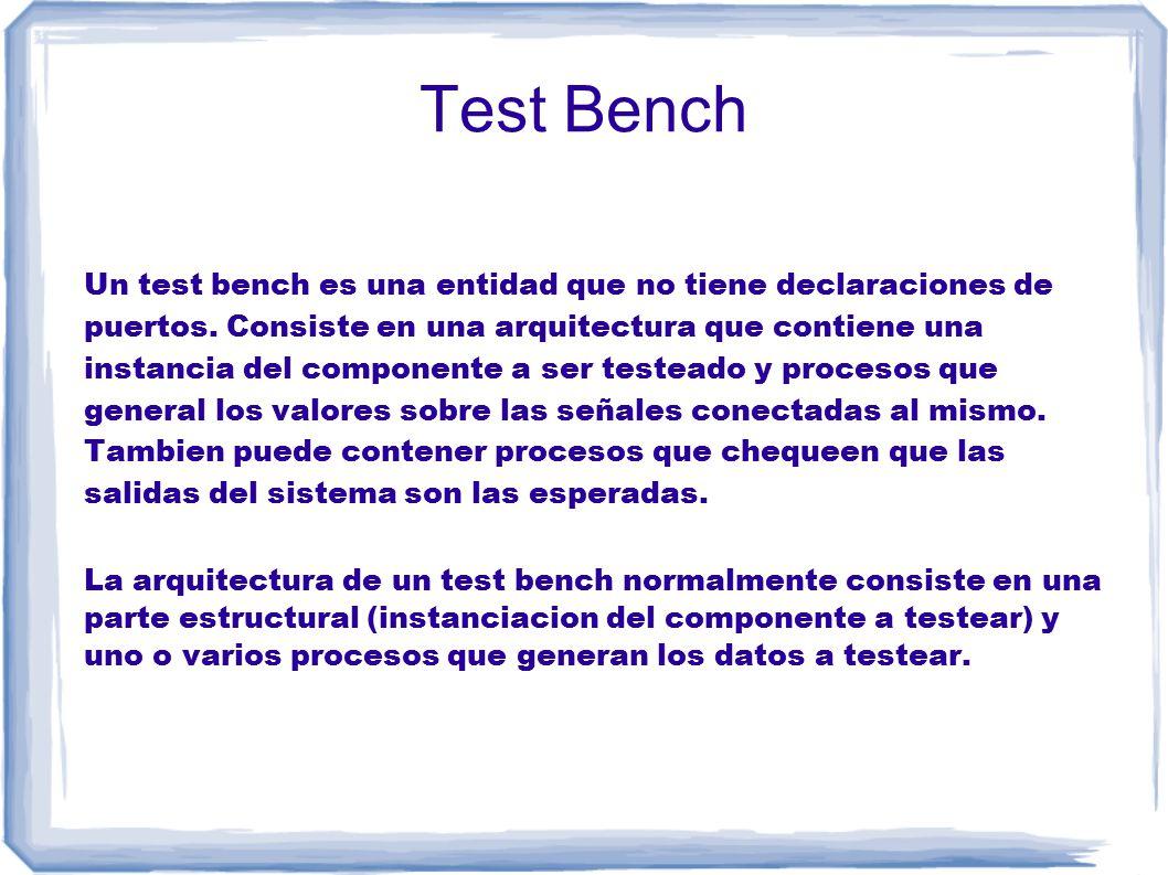 Test Bench Un test bench es una entidad que no tiene declaraciones de puertos.