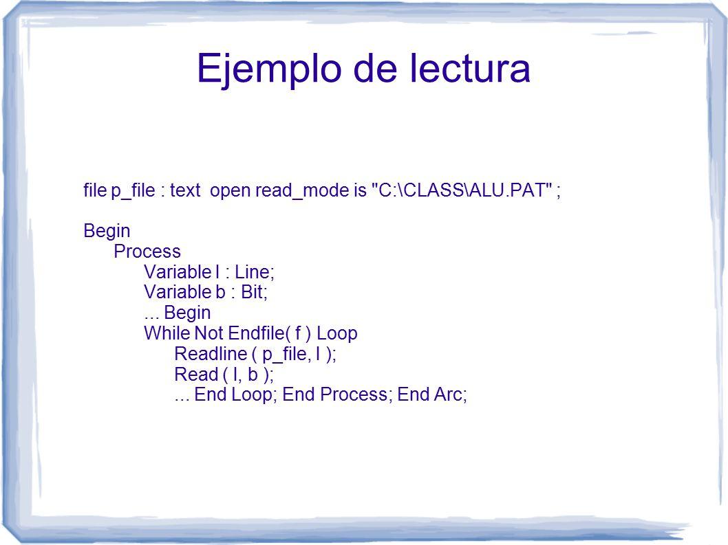 Ejemplo de lectura file p_file : text open read_mode is C:\CLASS\ALU.PAT ; Begin Process Variable l : Line; Variable b : Bit;...