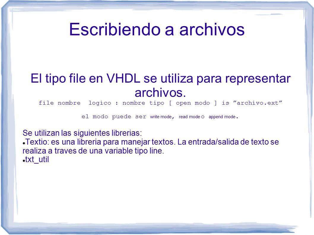 Escribiendo a archivos El tipo file en VHDL se utiliza para representar archivos.