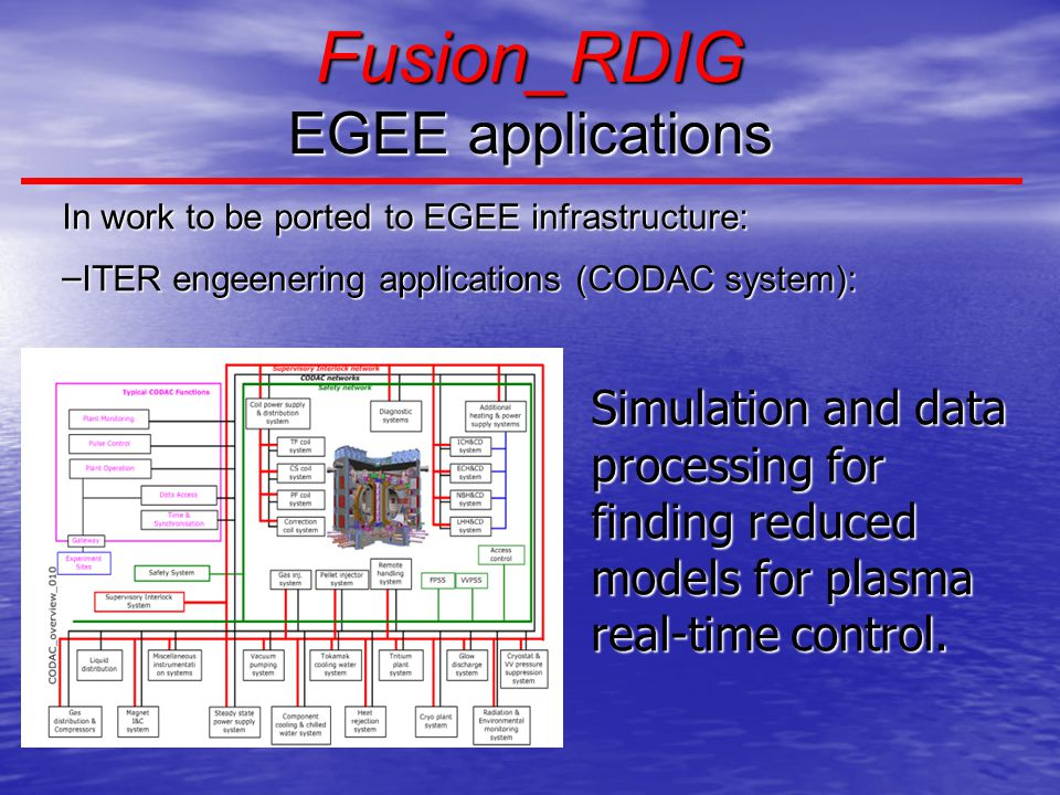 Fusion_RDIG EGEE applications In work to be ported to EGEE infrastructure: – ITER engeenering applications (CODAC system): Simulation and data processing for finding reduced models for plasma real-time control.