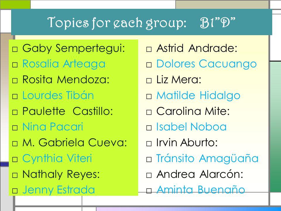 Topics for each group: B1 D □Gaby Sempertegui: □Rosalia Arteaga □Rosita Mendoza: □Lourdes Tibán □Paulette Castillo: □Nina Pacari □M.