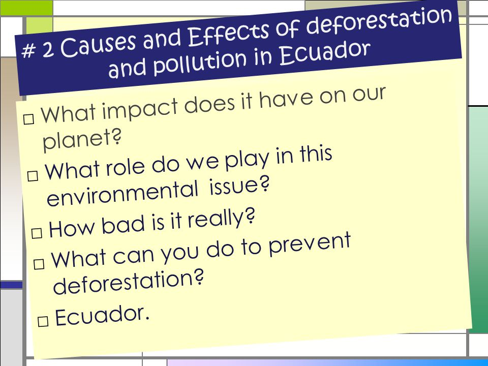 # 2 Causes and Effects of deforestation and pollution in Ecuador □What impact does it have on our planet? □What role do we play in this environmental