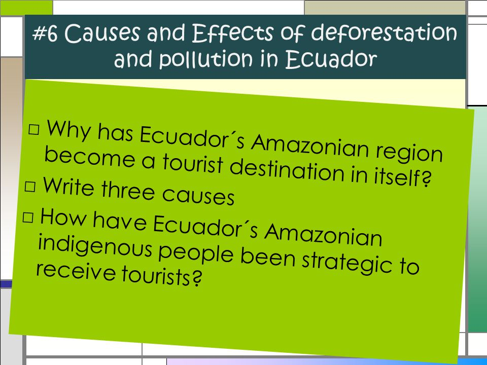 #6 Causes and Effects of deforestation and pollution in Ecuador □Why has Ecuador´s Amazonian region become a tourist destination in itself? □Write thr