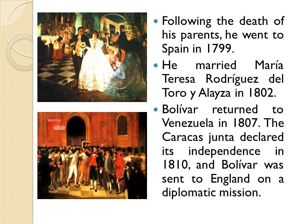 Bolívar returned to Venezuela and in July 1812, he flee to Cartagena de Indias.