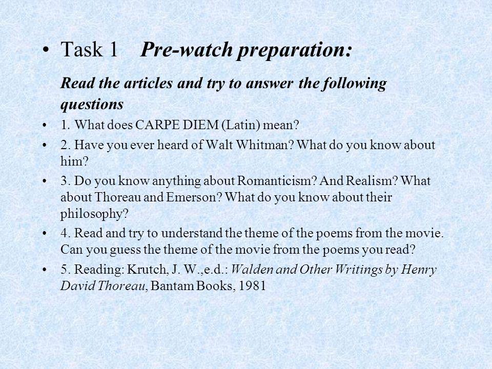 Preparation steps for Dead Poets Society 1.