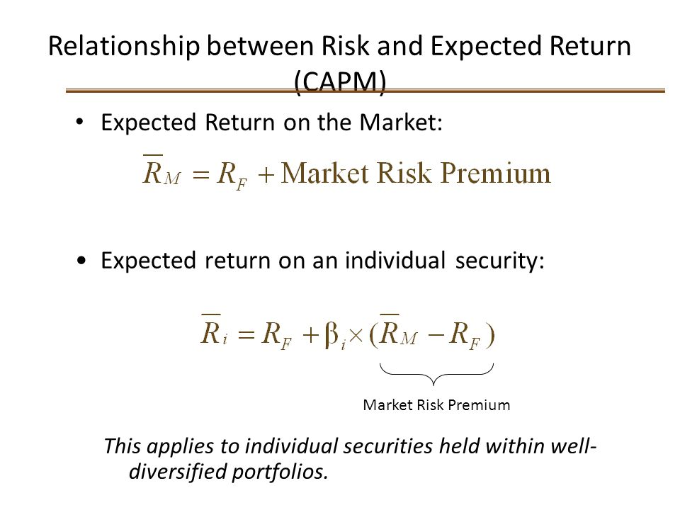 Relationship between Risk and Expected Return (CAPM) Expected Return on the Market: Expected return on an individual security: Market Risk Premium Thi
