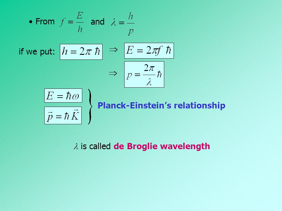 and  From if we put:   Planck-Einstein's relationship is called de Broglie wavelength