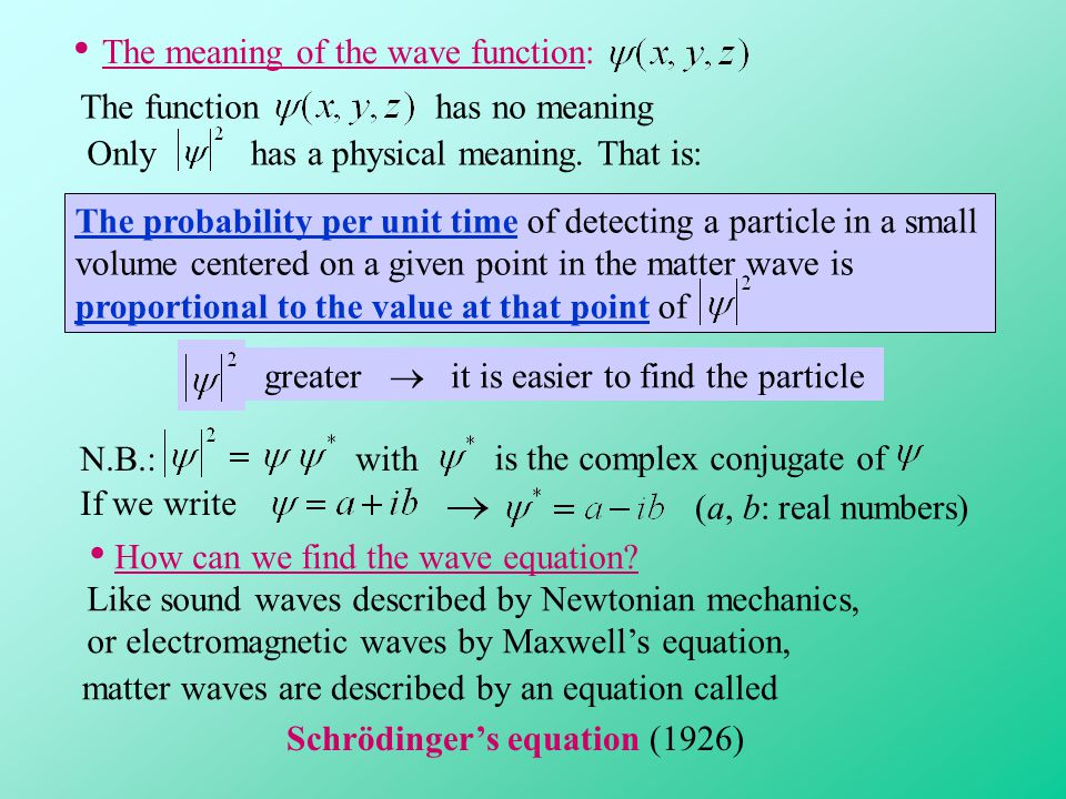 The meaning of the wave function: The functionhas no meaning Onlyhas a physical meaning.That is: The probability per unit time of detecting a particle