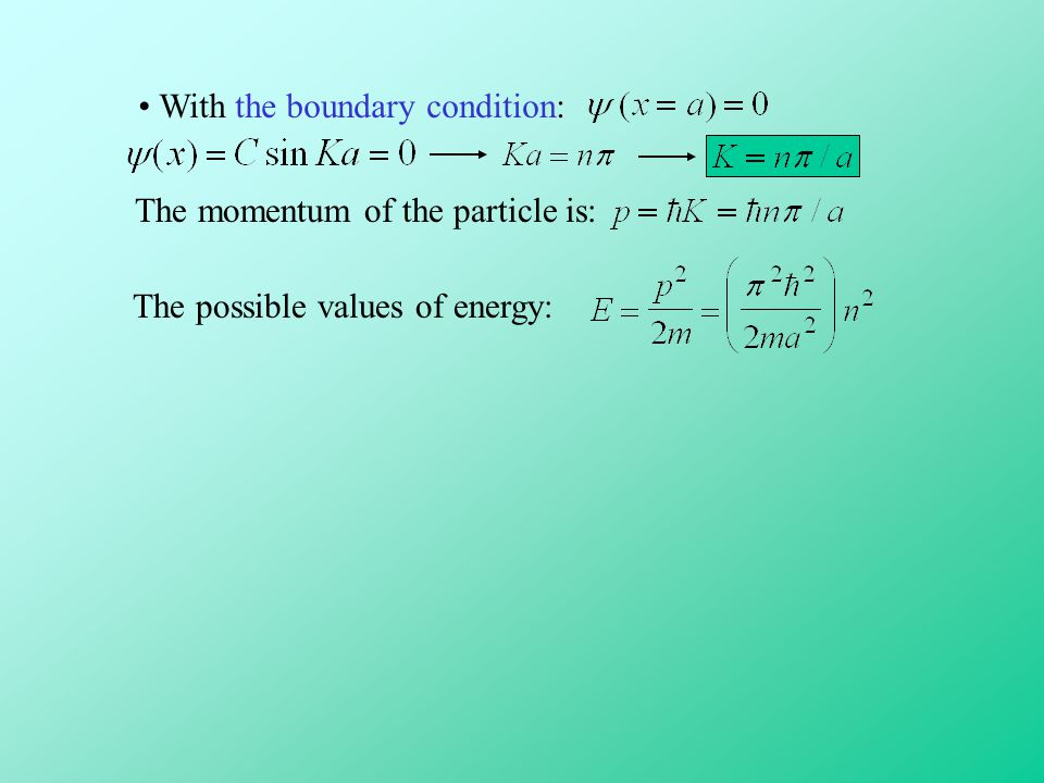 With the boundary condition: The momentum of the particle is: The possible values of energy: