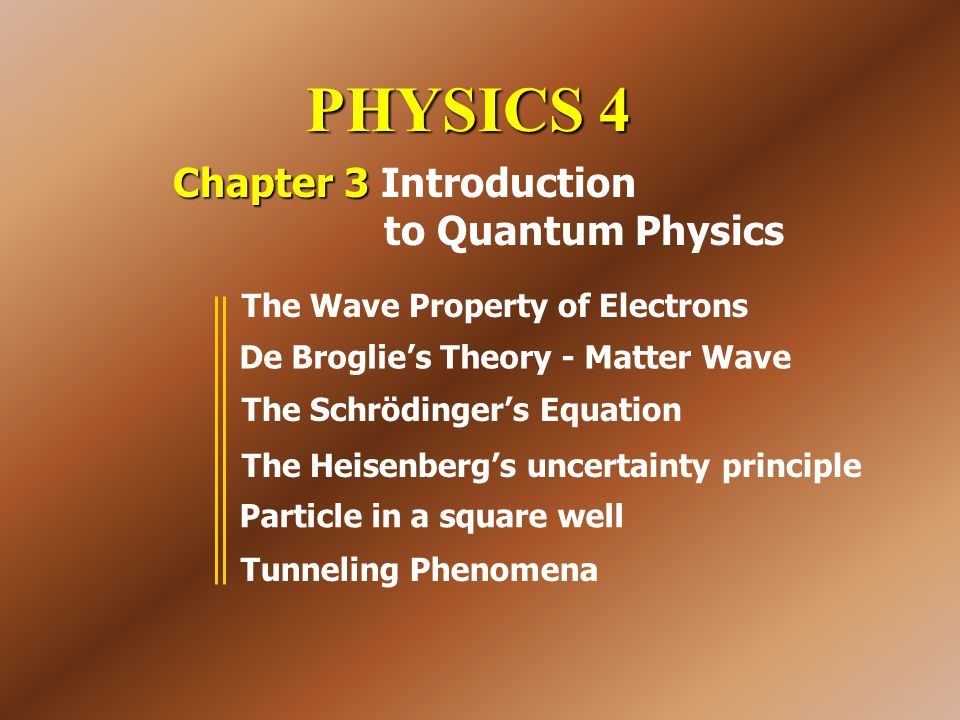 PHYSICS 4 Chapter 3 Chapter 3 Introduction to Quantum Physics The Wave Property of Electrons De Broglie's Theory - Matter Wave The Schrödinger's Equat