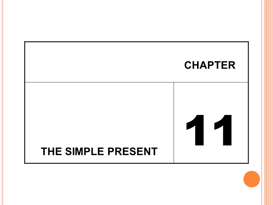 CHAPTER THE SIMPLE PRESENT 11