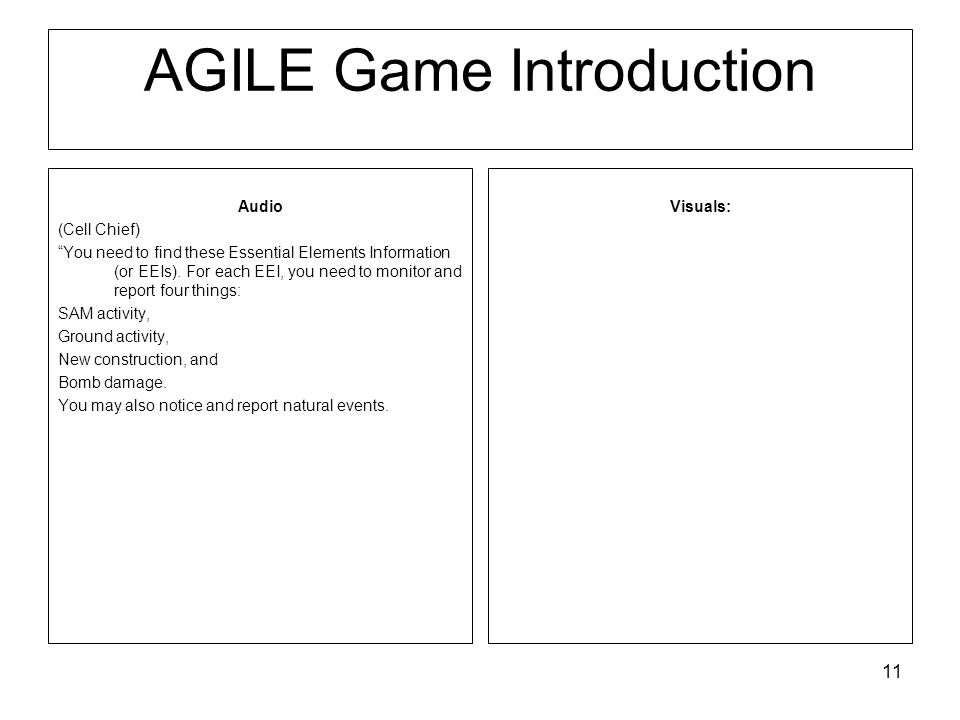 11 AGILE Game Introduction Visuals: Audio (Cell Chief) You need to find these Essential Elements Information (or EEIs).