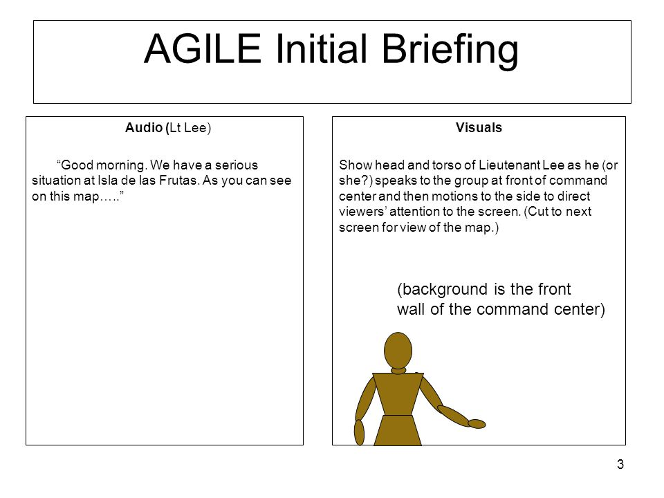 3 AGILE Initial Briefing Audio (Lt Lee) Good morning.