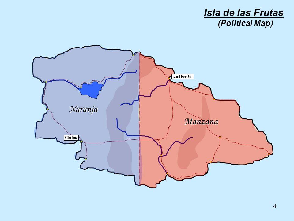 4 La Huerta Citrica Manzana Naranja Isla de las Frutas (Political Map)