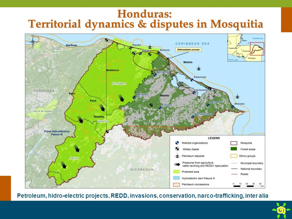 Honduras: Territorial dynamics & disputes in Mosquitia Petroleum, hidro-electric projects, REDD, invasions, conservation, narco-trafficking, inter ali