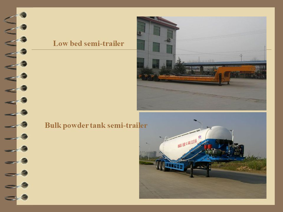 Low bed semi-trailer Bulk powder tank semi-trailer
