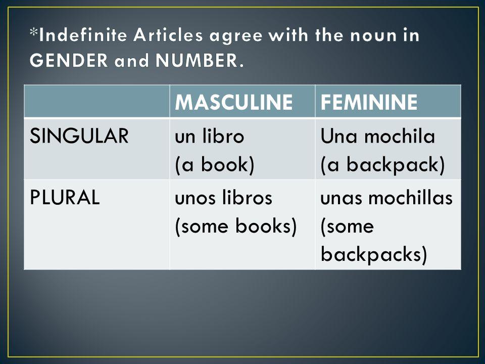 MASCULINEFEMININE SINGULARun libro (a book) Una mochila (a backpack) PLURALunos libros (some books) unas mochillas (some backpacks)
