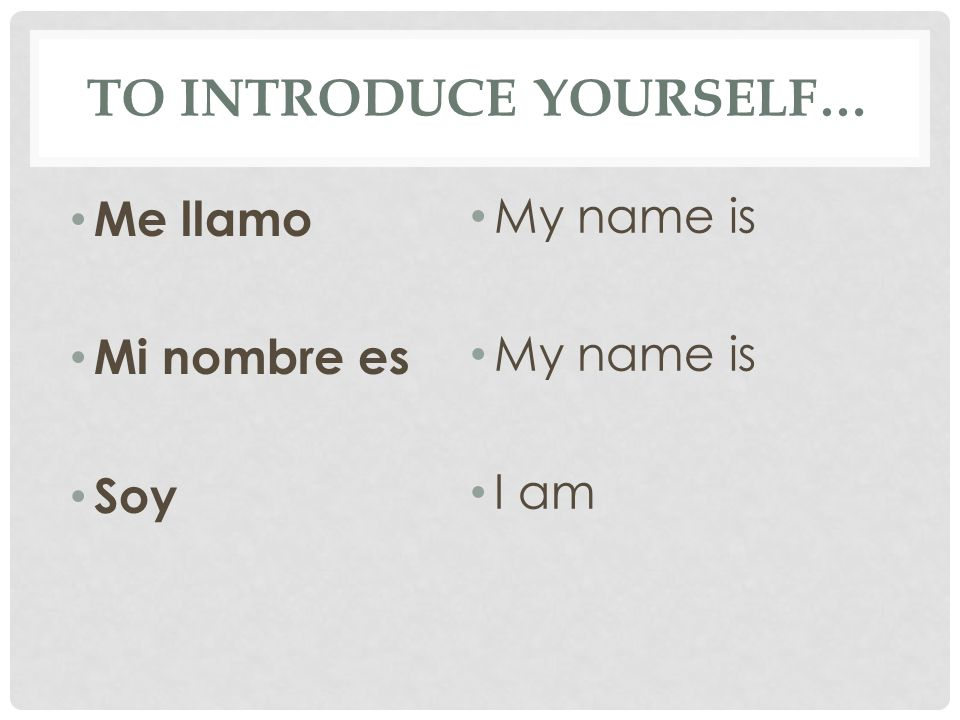 TO INTRODUCE YOURSELF… Me llamo Mi nombre es Soy My name is I am