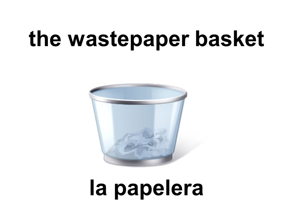 the wastepaper basket la papelera