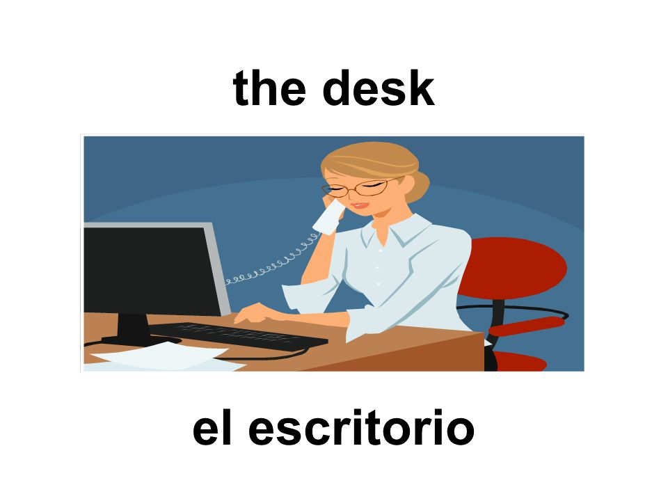 the desk el escritorio