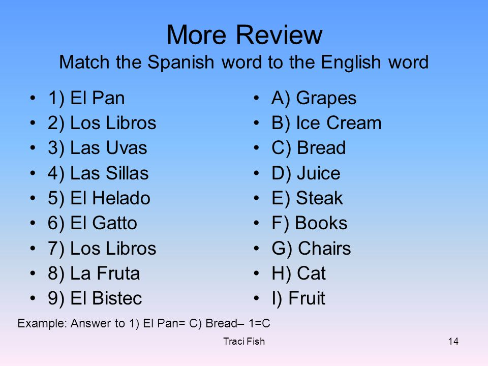 Traci Fish14 More Review Match the Spanish word to the English word 1) El Pan 2) Los Libros 3) Las Uvas 4) Las Sillas 5) El Helado 6) El Gatto 7) Los