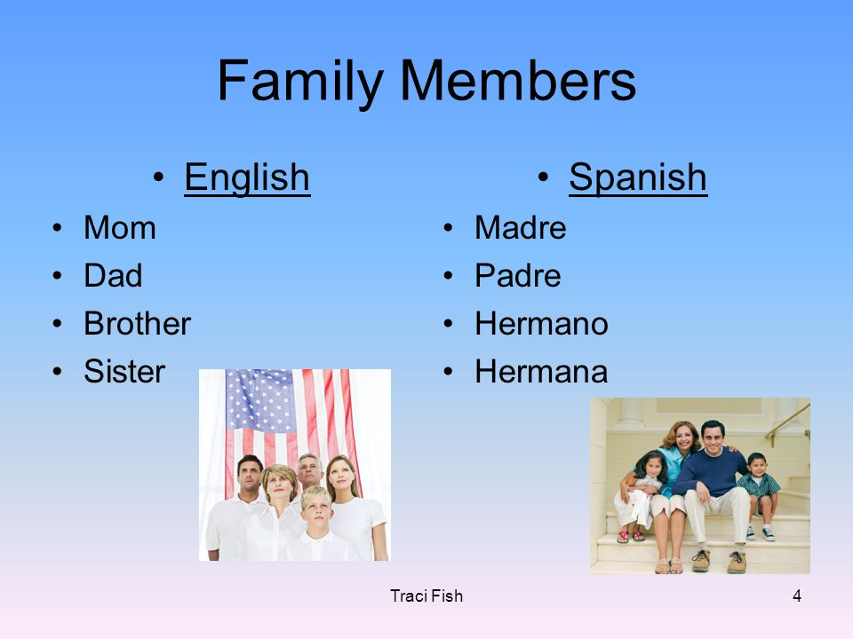 Traci Fish4 Family Members English Mom Dad Brother Sister Spanish Madre Padre Hermano Hermana