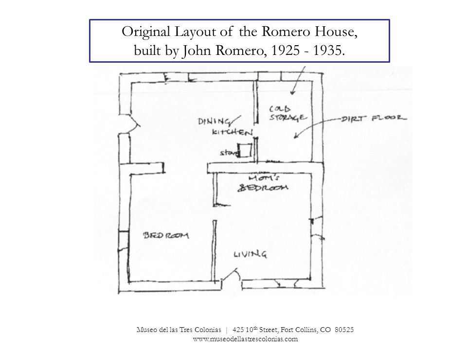Original Layout of the Romero House, built by John Romero, 1925 - 1935.