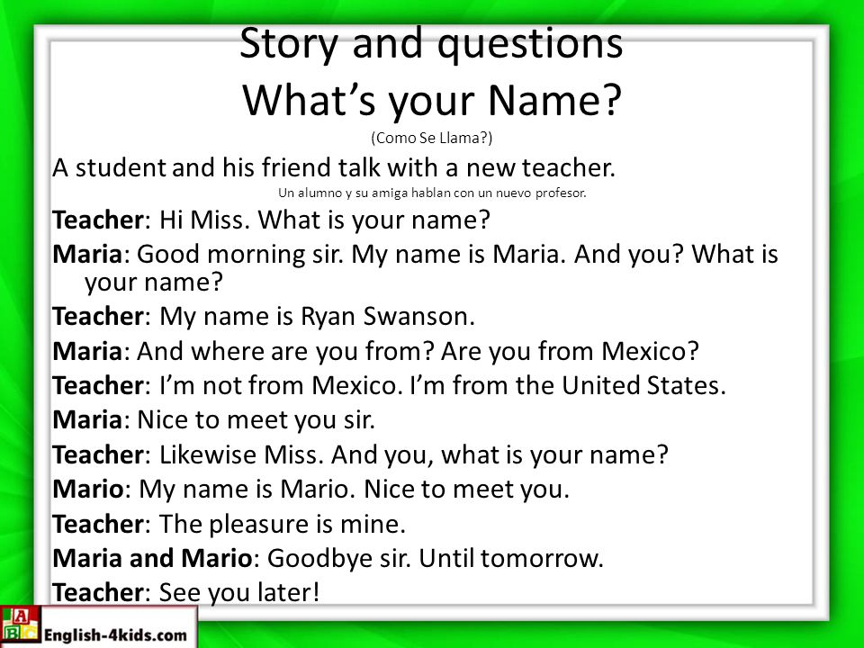 Story and questions What's your Name.