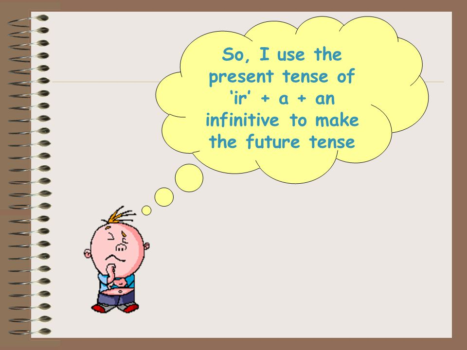 So, I use the present tense of 'ir' + a + an infinitive to make the future tense