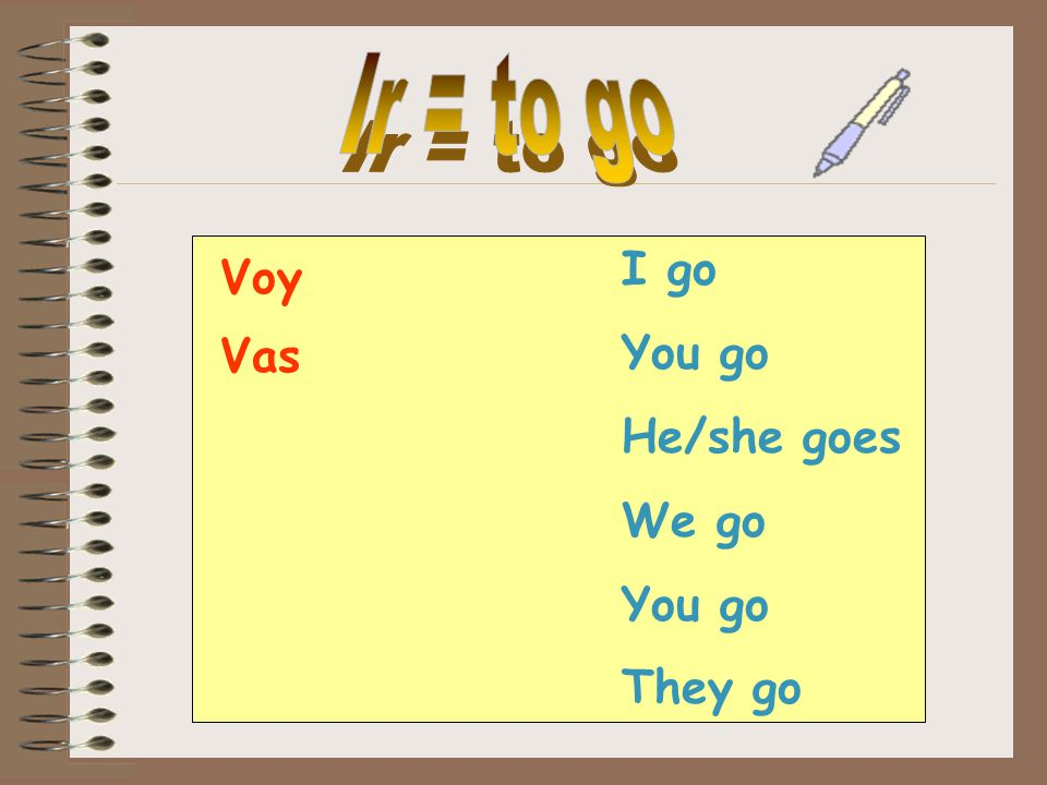 I go You go He/she goes We go You go They go Voy Vas
