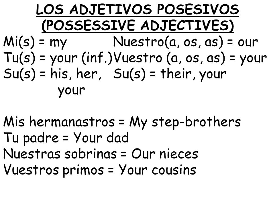 LOS ADJETIVOS POSESIVOS (POSSESSIVE ADJECTIVES) Mi(s) = myNuestro(a, os, as) = our Tu(s) = your (inf.)Vuestro (a, os, as) = your Su(s) = his, her,Su(s) = their, your your Mis hermanastros = My step-brothers Tu padre = Your dad Nuestras sobrinas = Our nieces Vuestros primos = Your cousins