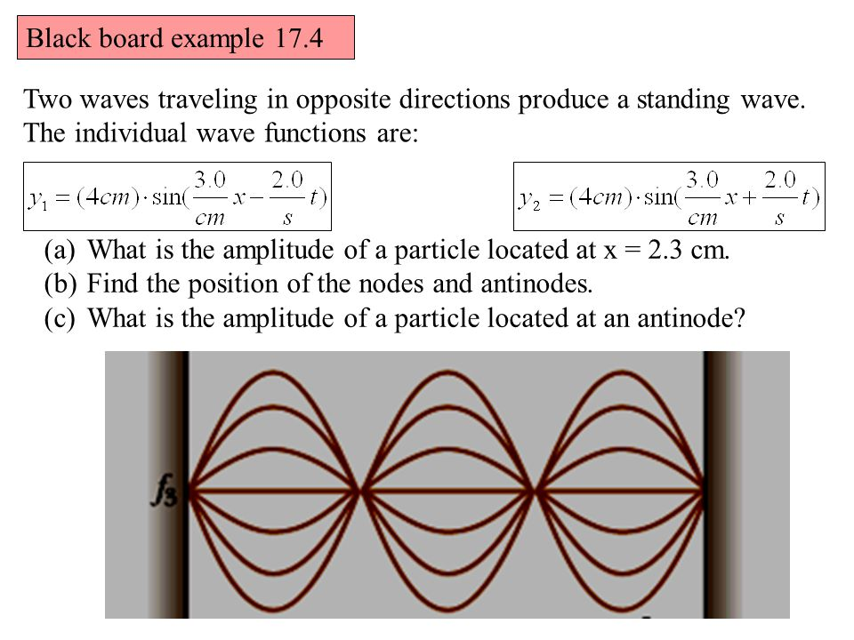 Two waves traveling in opposite directions produce a standing wave.
