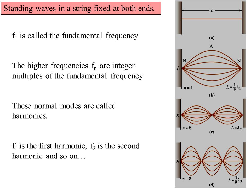 String instruments: When playing string instruments, standing waves (harmonics) are excited in the strings by plucking (guitar), bowing cello) or striking (piano) them.