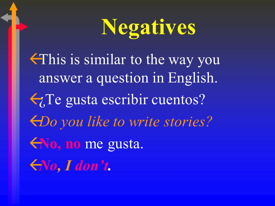 Negatives ßThis is similar to the way you answer a question in English.