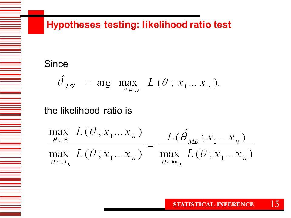 15 Since the likelihood ratio is STATISTICAL INFERENCE Hypotheses testing: likelihood ratio test