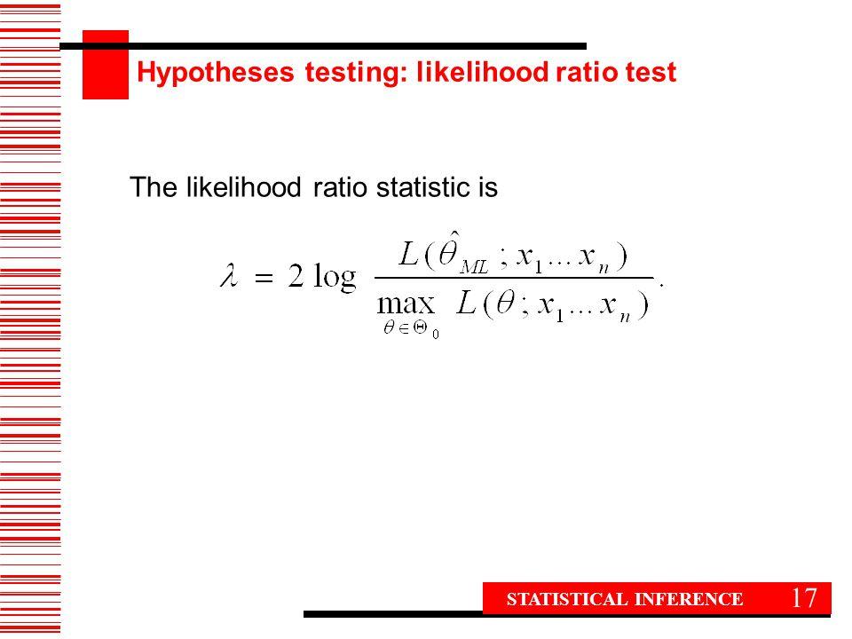 17 The likelihood ratio statistic is STATISTICAL INFERENCE Hypotheses testing: likelihood ratio test