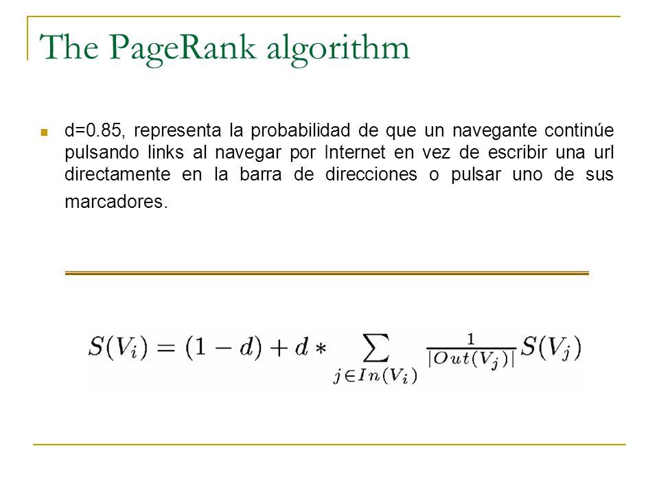 The PageRank algorithm d=0.85, representa la probabilidad de que un navegante continúe pulsando links al navegar por Internet en vez de escribir una url directamente en la barra de direcciones o pulsar uno de sus marcadores.
