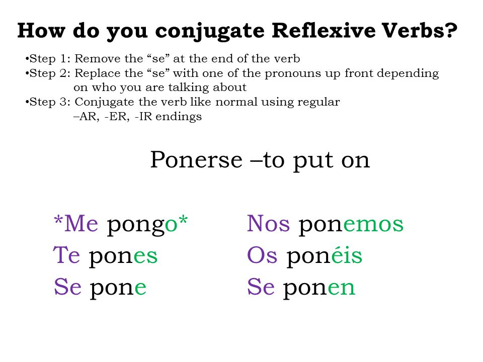 "How do you conjugate Reflexive Verbs? Ponerse –to put on *Me pongo*Nos ponemos Te ponesOs ponéis Se poneSe ponen Step 1: Remove the ""se"" at the end of"