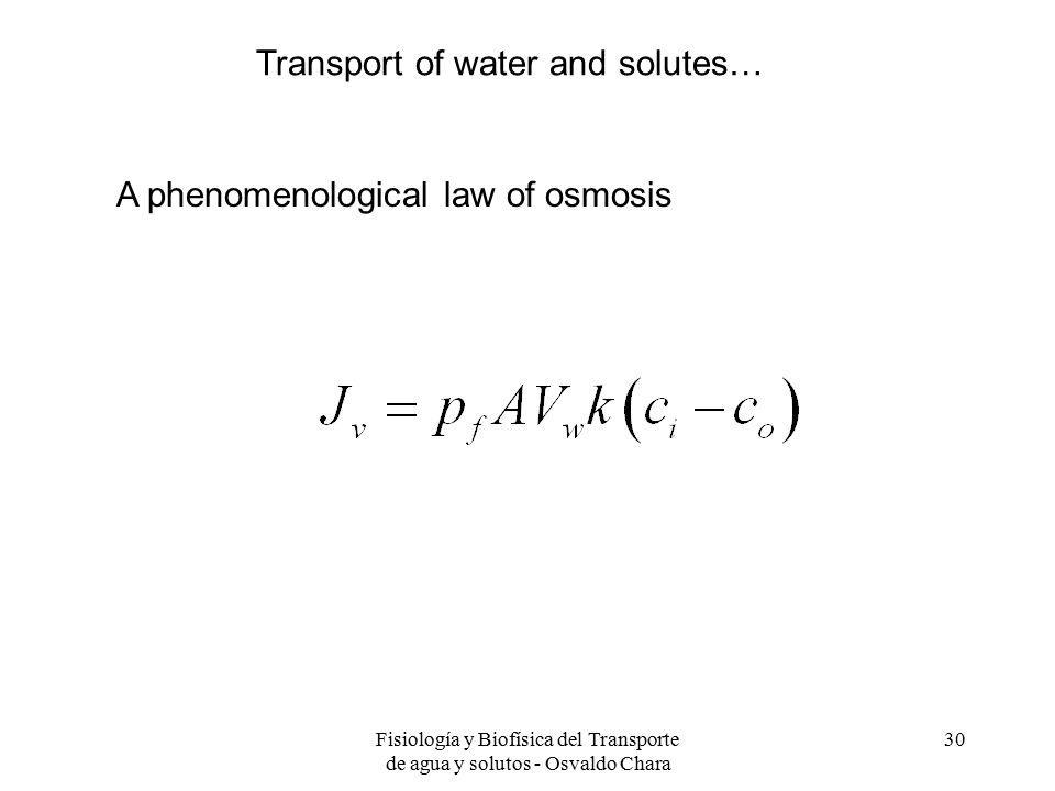 Fisiología y Biofísica del Transporte de agua y solutos - Osvaldo Chara 30 A phenomenological law of osmosis Transport of water and solutes…