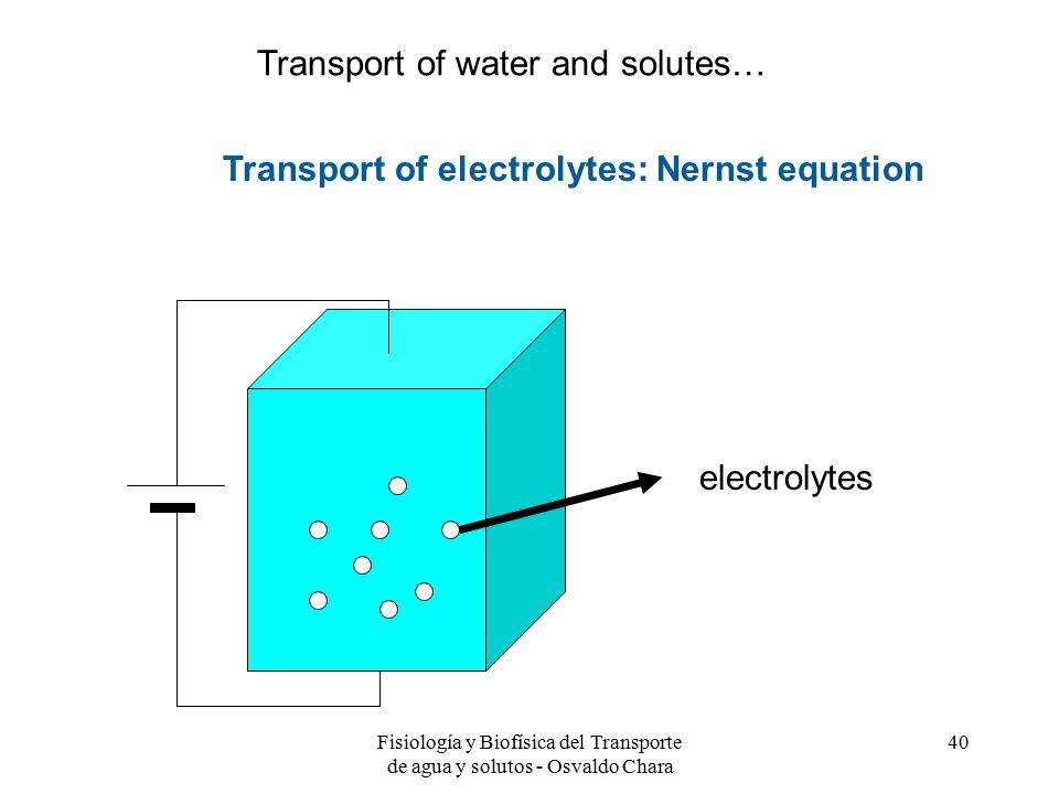Fisiología y Biofísica del Transporte de agua y solutos - Osvaldo Chara 40 Transport of electrolytes: Nernst equation electrolytes Transport of water and solutes…