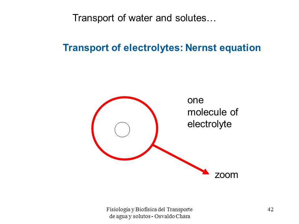 Fisiología y Biofísica del Transporte de agua y solutos - Osvaldo Chara 42 one molecule of electrolyte zoom Transport of electrolytes: Nernst equation Transport of water and solutes…
