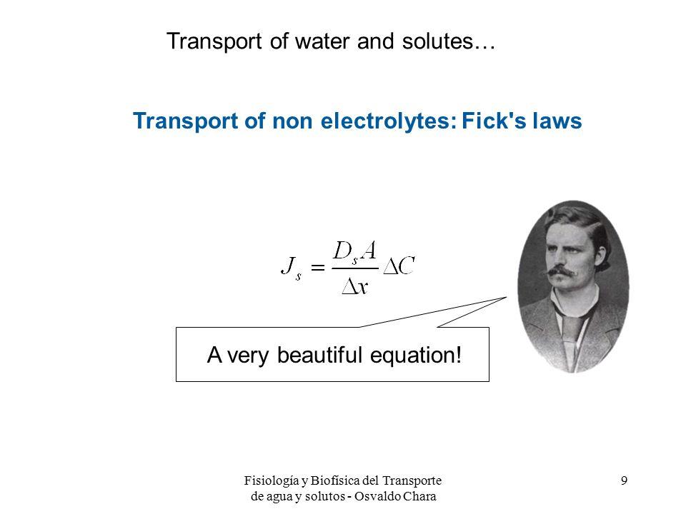 Fisiología y Biofísica del Transporte de agua y solutos - Osvaldo Chara 9 Transport of non electrolytes: Fick s laws A very beautiful equation.
