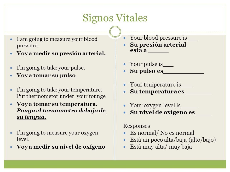 Signos Vitales I am going to measure your blood pressure.